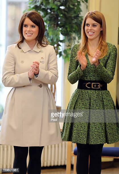 Princess Eugenie and Princess Beatrice of York visit the British School in Berlin on January 17 2013 in Berlin Germany The royal sisters are in...