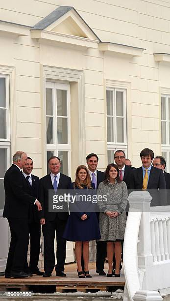 Princess Eugenie and Princess Beatrice with The Mayor of Hanover Stephan Weil and Ernst August Prince of Hanover on the balcony of Herrenhausen...
