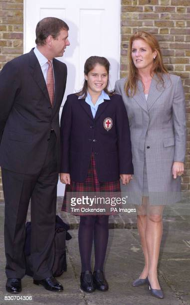 Princess Eugenie arrives with her parents the Duke and Duchess of York for her first day at St George's School Windsor Eugenie a granddaughter of...