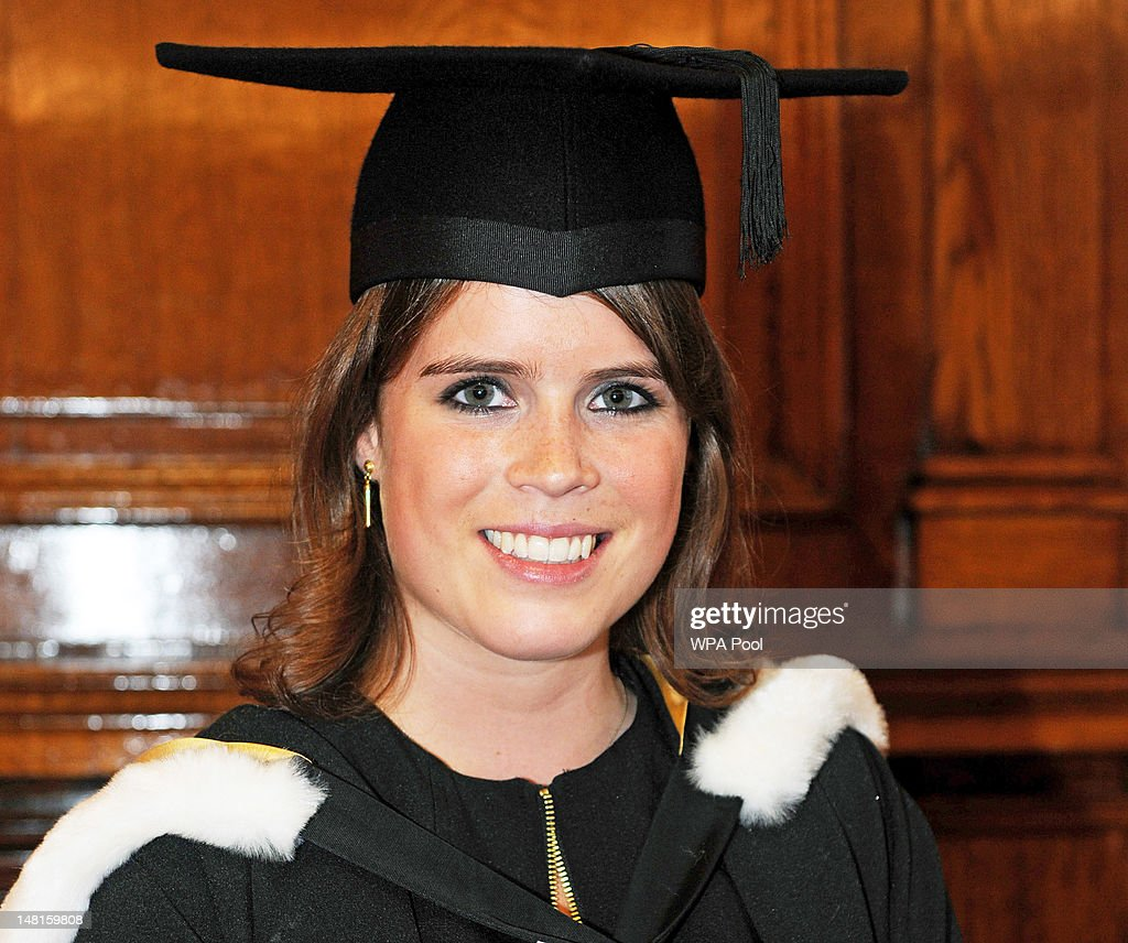 <a gi-track='captionPersonalityLinkClicked' href=/galleries/search?phrase=Princess+Eugenie&family=editorial&specificpeople=160237 ng-click='$event.stopPropagation()'>Princess Eugenie</a> attends her graduation ceremony at Newcastle University on July 11, 2012 In Newcastle, United Kingdom. <a gi-track='captionPersonalityLinkClicked' href=/galleries/search?phrase=Princess+Eugenie&family=editorial&specificpeople=160237 ng-click='$event.stopPropagation()'>Princess Eugenie</a> was awarded her 2:1 combined degree in English and history of art in the King's hall infront of fellow students and their families. The ceremony was also attended by Prince Andrew, Duke of York and Princess Beatrice.
