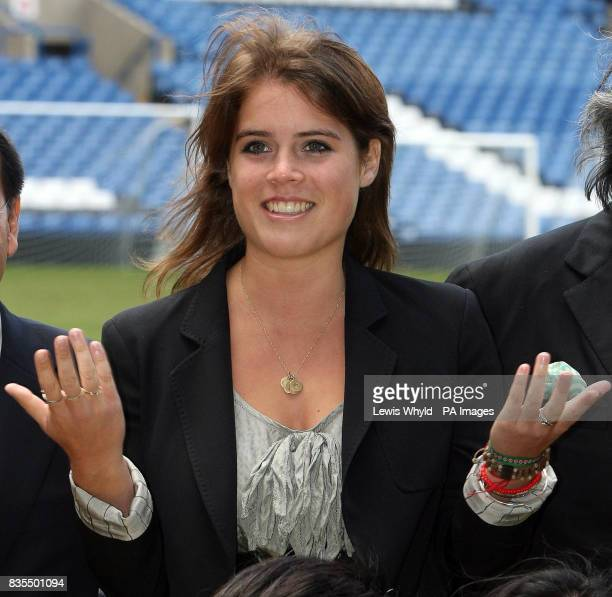 Princess Eugenie during a visit to Chelsea Football Club Stamford Bridge Fulham where she met with Sir David Tang Chairman of the Hong Kong Down...