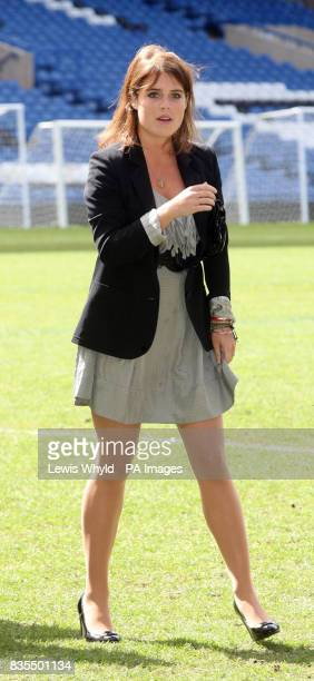 Princess Eugenie during a visit to Chelsea Football Club Stamford BridgeFulham where she met with Sir David Tang Chairman of the Hong Kong Down...