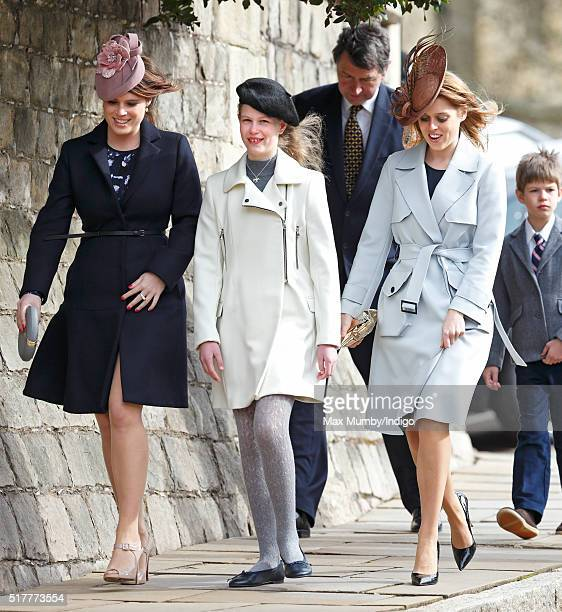 Princess Eugenie Lady Louise Windsor and Princess Beatrice attend the traditional Easter Sunday church service at St George's Chapel Windsor Castle...