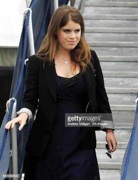 Princess Eugenie leaves The Hebridean Princess boat at the end of her weeklong holiday around the Hebrides