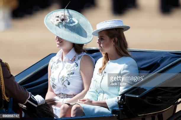 Princess Eugenie of York and Princess Beatrice of York arrive at Horse Guards Parade for the annual Trooping The Colour parade on June 17 2017 in...