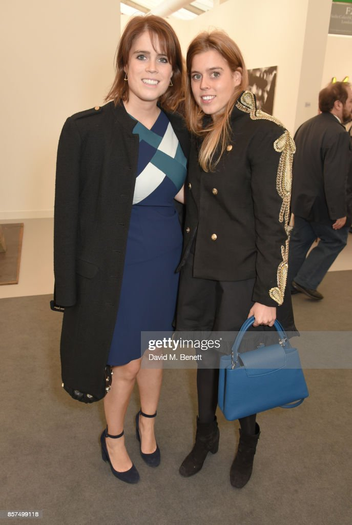 Princess Eugenie of York (L) and Princess Beatrice of York attend the Frieze Art Fair 2017 VIP Preview in Regent's Park on October 4, 2017 in London, England.