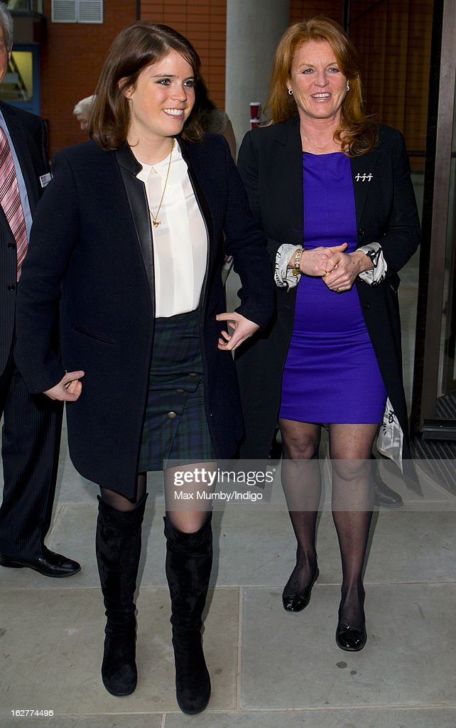 Princess Eugenie of York and <a gi-track='captionPersonalityLinkClicked' href=/galleries/search?phrase=Sarah+Ferguson+-+Duquesa+de+Iorque&family=editorial&specificpeople=160596 ng-click='$event.stopPropagation()'>Sarah Ferguson</a>, Duchess of York arrive to officially open a Teenage Cancer Trust specialist outpatient unit at University College Hospital on February 26, 2013 in London, England.