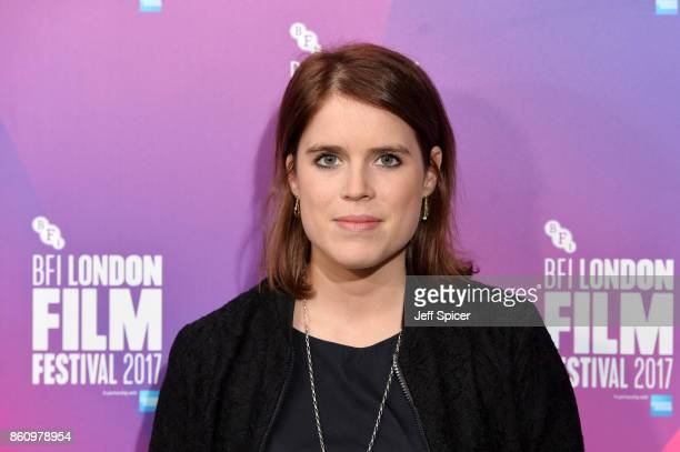 Princess Eugenie of York arrives at the European premiere of 'Jane' during the 61st BFI London Film Festival at Picturehouse Central on October 13...