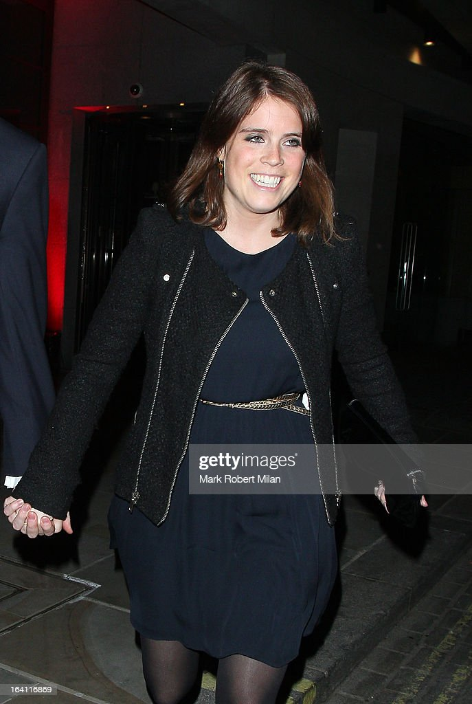 Princess Eugenie of York at the Downtown Mayfair restaurant for Heather Kerzner's birthday celebration on March 19, 2013 in London, England.