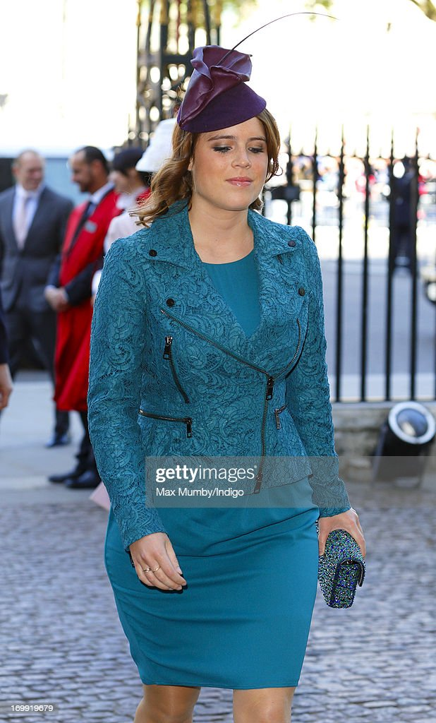 Princess Eugenie of York attends a service of celebration to mark the 60th anniversary of the Coronation of Queen Elizabeth II at Westminster Abbey on June 4, 2013 in London, England. The Queen's Coronation took place on June 2, 1953 after a period of mourning for her father King George VI, following her ascension to the throne on February 6, 1952. The event 60 years ago was the first time a coronation was televised for the public.