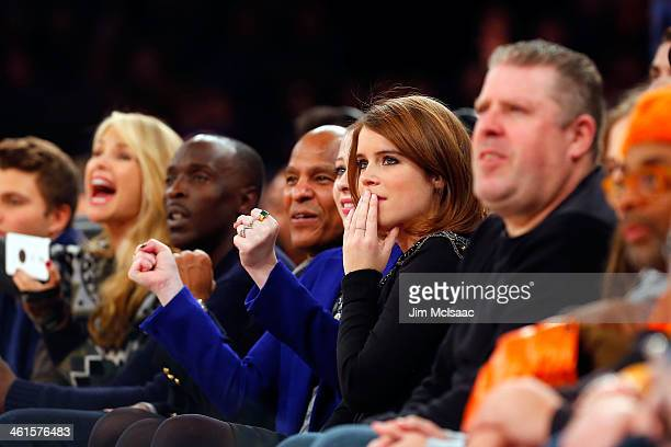 Princess Eugenie of York attends an NBA game between the New York Knicks and the Atlanta Hawks at Madison Square Garden on December 14 2013 in New...