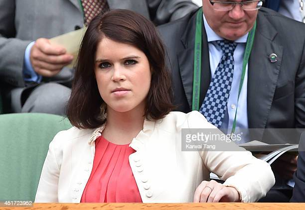 Princess Eugenie of York attends the ladies singles final between Eugenie Bouchard and Petra Kvitova on centre court during day twelve of the...