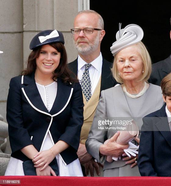 Princess Eugenie of York George Earl of St Andrews and Katharine Duchess of Kent stand on the balcony of Buckingham Palace after the Trooping the...