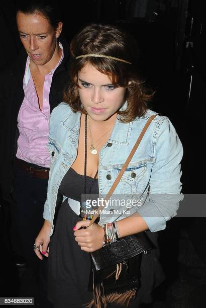 Princess Eugenie of York is seen leaving Boujis at 330am on September 04 2008 in London England