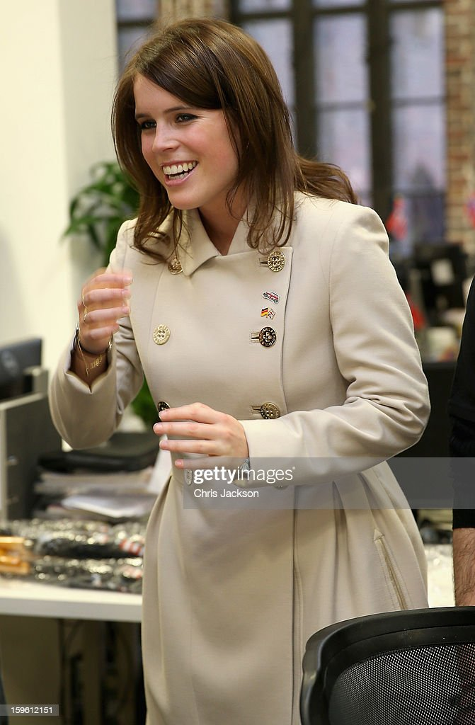 Princess Eugenie of York laughs as she visits e-commerce company 'Zalando' during a visit to the city with her sister on January 17, 2013 in Berlin, Germany. The royal sisters are in Berlin supporting the government's GREAT initiative, promoting the UK abroad. They will visit Hanover tomorow as part of a two-day trip funded by their father the Duke of York.