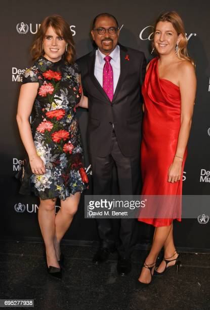 Princess Eugenie of York Michel Sidibe UNAIDS Executive Director and Caroline Rupert attend the UNAIDS Gala during Design Miami / Basel 2017 on June...