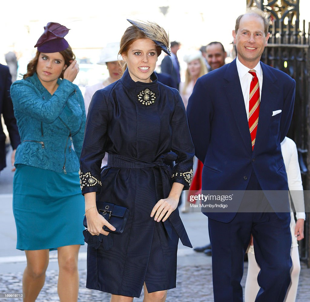 Princess Eugenie of York, Princess Beatrice of York and Prince Edward, Earl of Wessex attend a service of celebration to mark the 60th anniversary of the Coronation of Queen Elizabeth II at Westminster Abbey on June 4, 2013 in London, England. The Queen's Coronation took place on June 2, 1953 after a period of mourning for her father King George VI, following her ascension to the throne on February 6, 1952. The event 60 years ago was the first time a coronation was televised for the public.