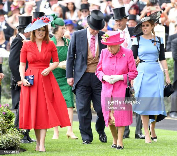 Princess Eugenie of York Queen Elizabeth II and Princess Beatrice of York attend Ladies Day of Royal Ascot 2017 at Ascot Racecourse on June 22 2017...