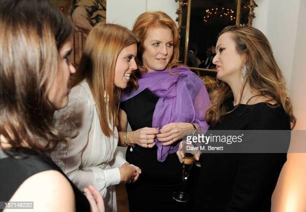 Princess Eugenie of York Sarah Ferguson Duchess of York Princess Beatrice of York and Lucy Yeomans attend a dinner celebrating the launch of...