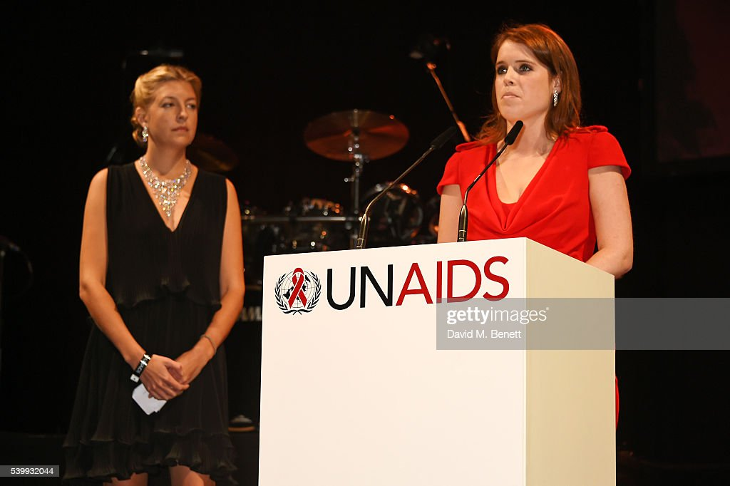 Princess Eugenie of York (R) speaks on stage as Caroline Rupert looks on at the UNAIDS Gala during Art Basel 2016 at Design Miami/ Basel on June 13, 2016 in Basel, Switzerland.