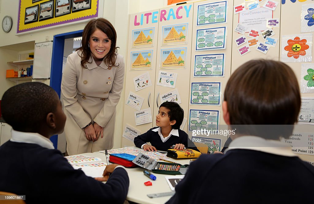 Princess Eugenie of York speaks to pupils at the British School in Berlin on January 17, 2013 in Berlin, Germany. The royal sisters are in Berlin supporting the government's GREAT initiative, promoting the UK abroad. They will visit Hanover tomorow as part of a two-day trip funded by their father the Duke of York.