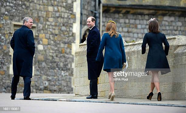 Princess Eugenie Prince Edward Earl of Wessex Prince Andrew Duke of York and Princess Beatrix arrives for the Easter service at St George's Chapel in...
