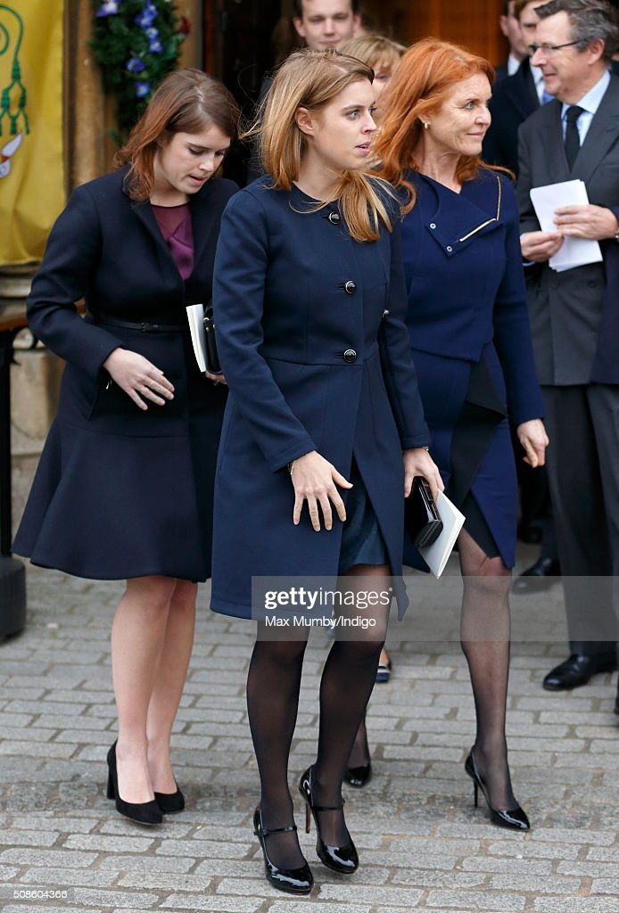 <a gi-track='captionPersonalityLinkClicked' href=/galleries/search?phrase=Princess+Eugenie&family=editorial&specificpeople=160237 ng-click='$event.stopPropagation()'>Princess Eugenie</a>, Princess Beatrice and <a gi-track='captionPersonalityLinkClicked' href=/galleries/search?phrase=Sarah+Ferguson+-+Duchess+of+York&family=editorial&specificpeople=160596 ng-click='$event.stopPropagation()'>Sarah Ferguson</a>, Duchess of York attend a memorial service for Miles Frost at Arundel Cathedral on February 5, 2016 in Arundel, England. Miles Frost, son of the late Sir David Frost, died aged 31 in July 2015.