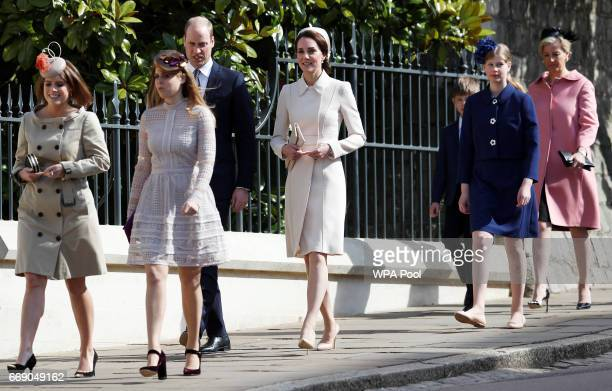 Princess Eugenie Princess Beatrice Prince William Duke of Cambridge Catherine Duchess of Cambridge James Viscount Severn Lady Louise Windsor and...