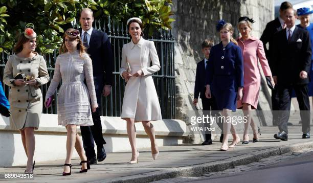 Princess Eugenie Princess Beatrice Prince William Duke of Cambridge and Catherine Duchess of Cambridge James Viscount Severn Lady Louise Windsor...