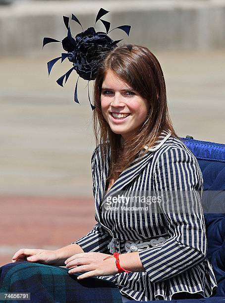 Princess Eugenie rides in a carriage during the Trooping the Colour ceremony on June 16 2007 in London Each year the official birthday of Queen...