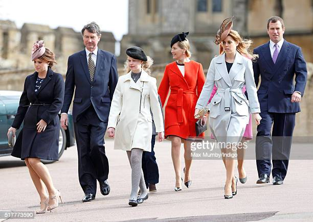 Princess Eugenie Sir Timothy Laurence Lady Louise Windsor Sophie Countess of Wessex Princess Beatrice and Peter Phillips attend the traditional...