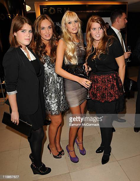 Princess Eugenie Tamara Ecclestone Petra Ecclestone and Princess Eugenie at the launch of FORM Menswear at Harrods on October 2 2008 in London England