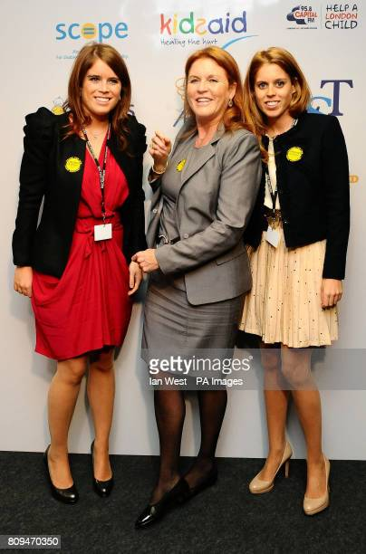 Princess Eugenie the Duchess of York and Princess Beatrice during the BGC Partner's 7th Annual Charity Trading Day at Churchill Place in Canary Wharf...