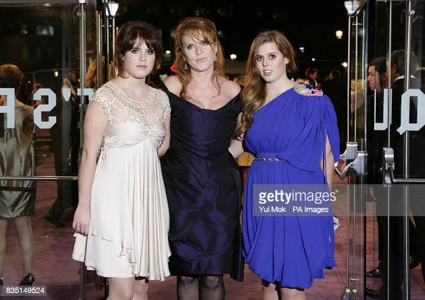 Princess Eugenie The Duchess of York Sarah Ferguson and Princess Beatrice arriving for the world premiere of The Young Victoria at the Odeon...