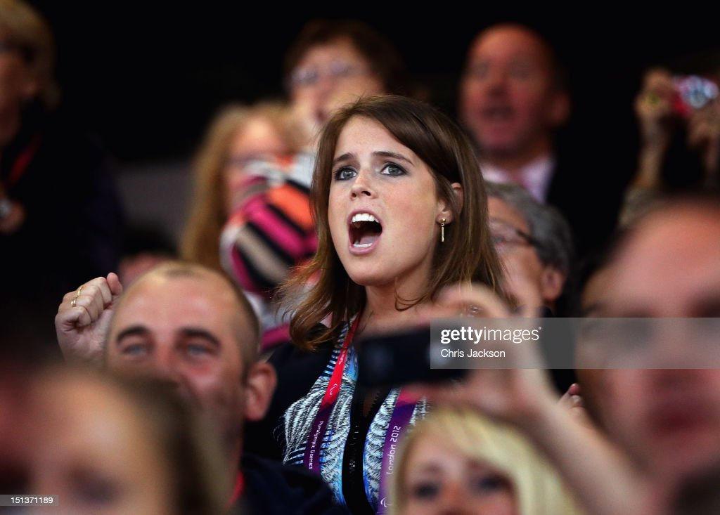<a gi-track='captionPersonalityLinkClicked' href=/galleries/search?phrase=Princess+Eugenie&family=editorial&specificpeople=160237 ng-click='$event.stopPropagation()'>Princess Eugenie</a> watches the athletics in the Olympic Stadium on day 8 of the London 2012 Paralympic Games at Olympic Stadium on September 6, 2012 in London, England.
