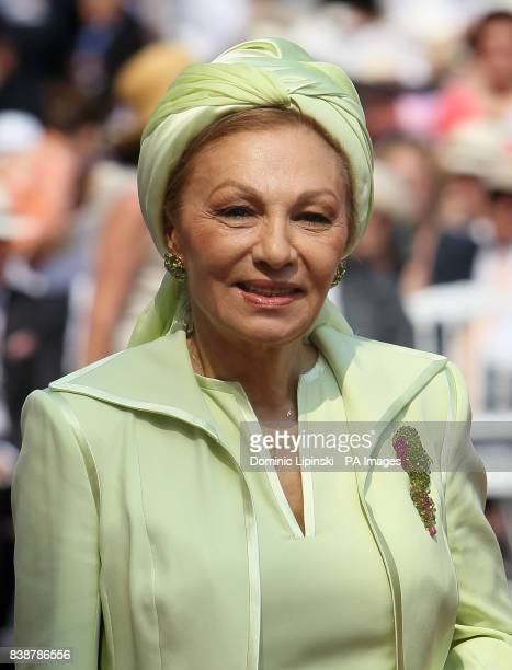 Princess Farah Pahlavi of Iran arrives at the Place du Palais Monte Carlo for the religious ceremony of the wedding of Charlene Wittstock to Prince...