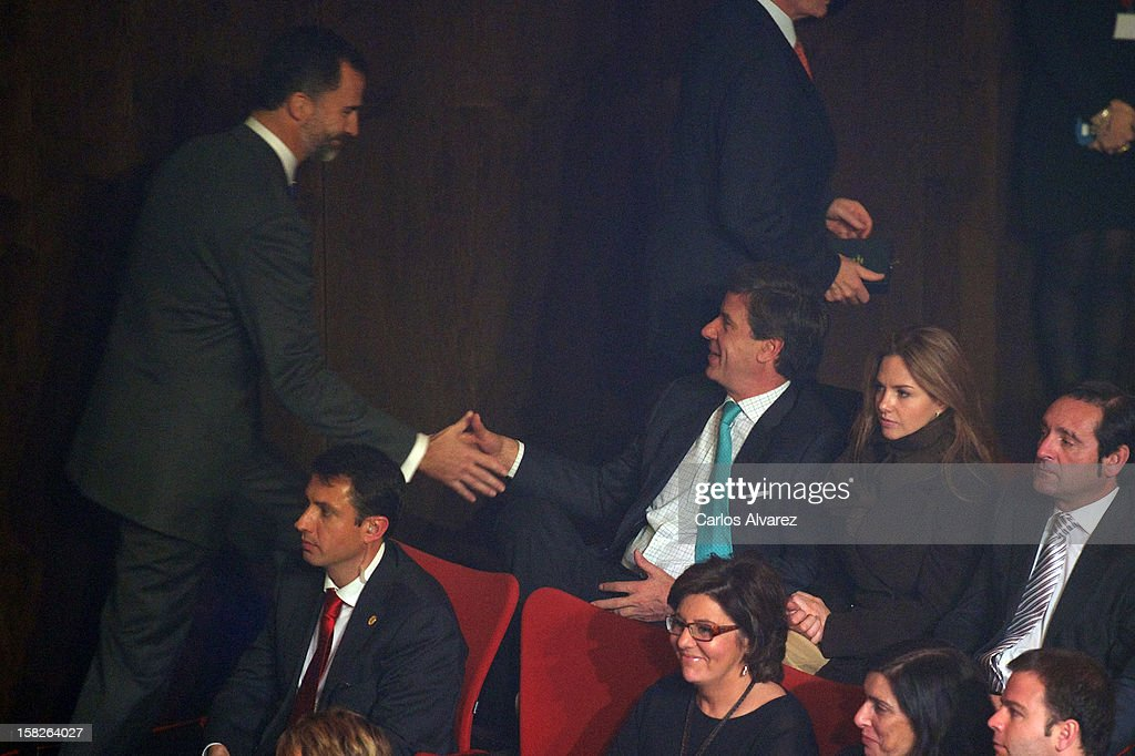 Princess Felipe of Spain, Cayetano Martinez de Irujo and Genoveva Casanova attend Spanish Olympic Commitee Centenary Gala at El Canal theater on December 12, 2012 in Madrid, Spain.