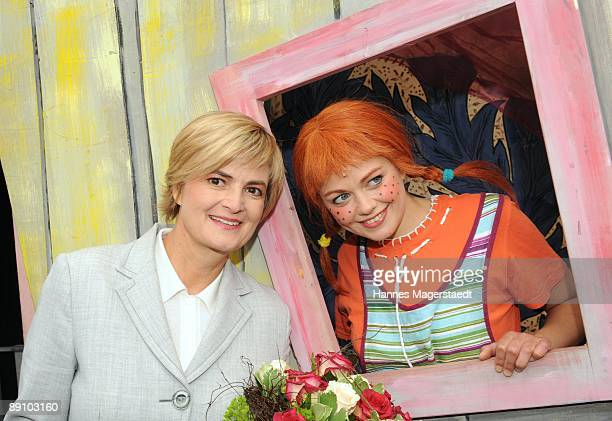 Princess Gloria von Thurn und Taxis and Lena Ottenbacher after the play 'Pippi Langstrumpf' at the Thurn and Taxis castle festival on July 19 2009 in...