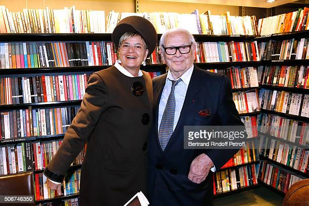Princess Gloria Von Thurn und Taxis and Pierre Cardin attend Princess Gloria Von Thurn und Taxis signs her Book 'The House of Thurn und Taxis' Held...