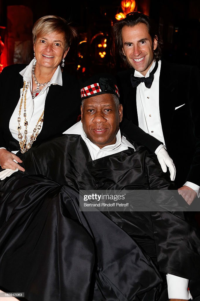 Princess Gloria von Thurn und Taxis, Andre Leon Talley and Pierre Pelegry attend Pierre Pelegry's birthday party at Maxim's on March 1, 2013 in Paris, France.