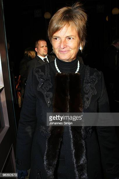 Princess Gloria von Thurn und Taxis leaves the funeral service for Wolfgang Wagner at festival opera house on April 11 2010 in Bayreuth Germany...