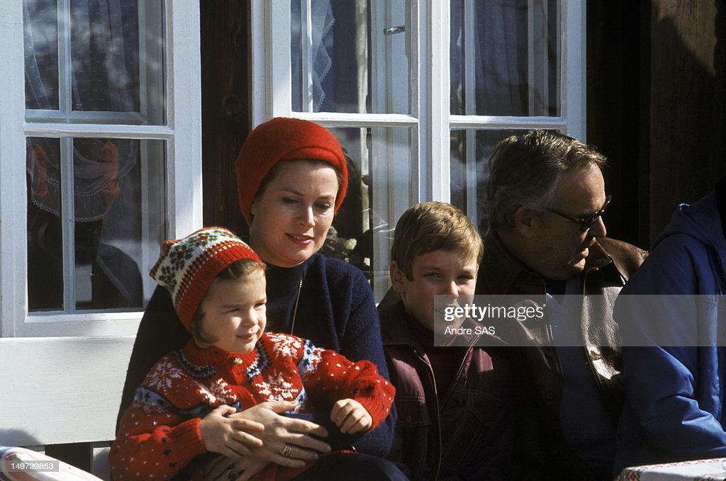 Princess Grace and Prince Rainier with children Princess Stephanie and Prince Albert Circa 1960 in Switzerland
