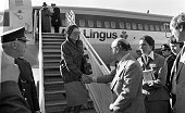 Princess Grace greeded on her arrival at Dublin Airport by Mr David Andrews Minister of State at the Department of Foreign Affairs also in the...