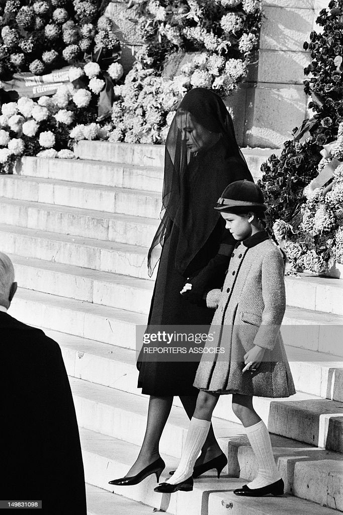 Princess Grace of Monaco and her daughter Caroline of Monaco at the funeral of Prince Pierre of Monaco in Monaco, November 17, 1964.