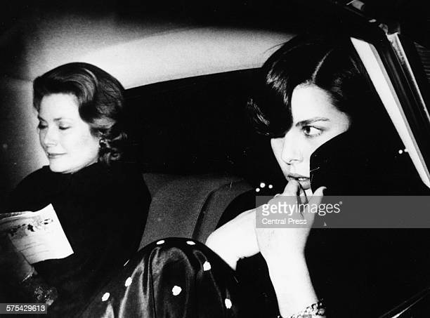 Princess Grace of Monaco and her daughter Caroline pictured in the back of a car circa 1980