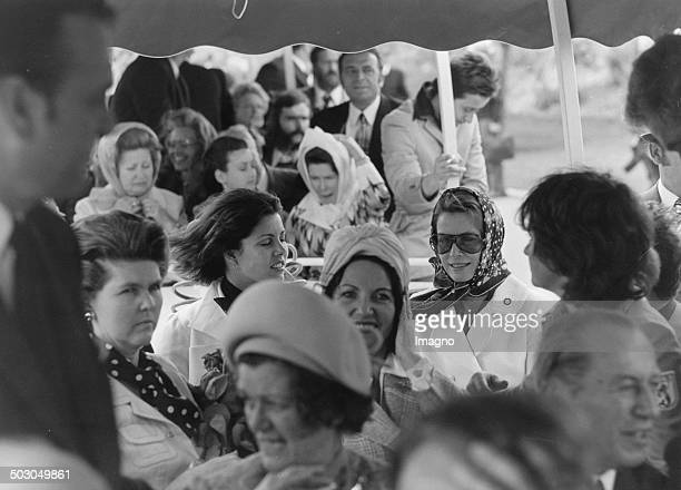 Princess Grace of Monaco and her daughter Princess Caroline at the opening of Rose special show on the WIG 74 the Vienna International Garden...