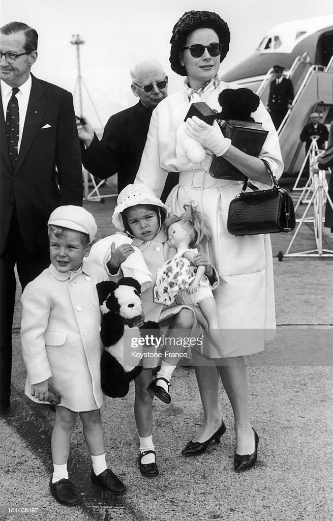 Princess GRACE of MONACO and her two children Prince ALBERT and Princess CAROLINE of MONACO upon their arrival at London's airport on June 26 1961