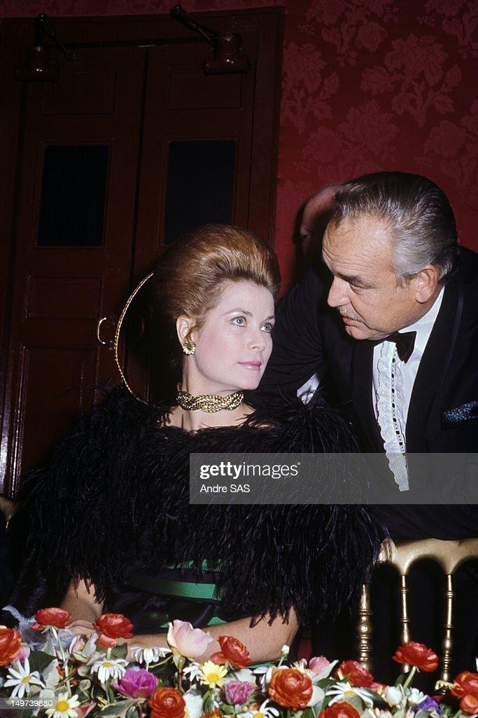 Princess Grace of Monaco and Prince Rainier at official dinner circa 1960 in Monaco