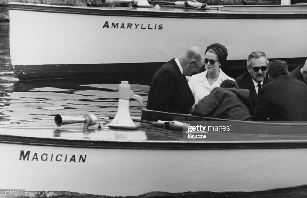 Princess Grace of Monaco and Prince Rainier III of Monaco at the Henley Royal Regatta to watch the Vesper Boat Club a team managed by Princess...