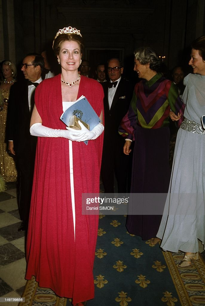 Princess Grace of Monaco at Gala for the restoration of the Castle of Versailles on November 28, 1973 in Versailles, France.